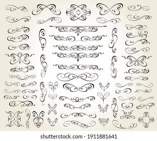 Set of floral decorative elements for design isolated, editable. Vignettes, ornate, dividers.
