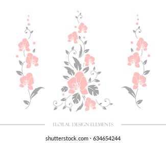 Set of floral design elements. Fine original decorative branches with flowers. Exotic tropical  decor with orchids flowers.