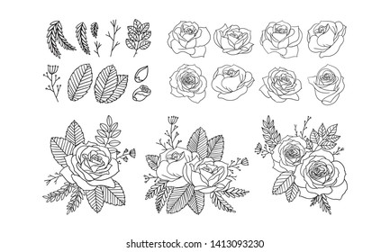 set of floral elements for design, Roses lineart hand drawn, Vector floral bouquet, set element of simple Wedding invite card.