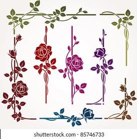 Set of floral elements for frames