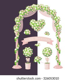 Set of floral elements isolated on white and dark background. Simplified image of arch, topiary, flower heart and bouquet. Cream color floral decoration for wedding design.
