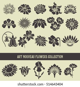 Set of floral elements and silhouettes of flowers, ornamental patterns for using in invitation cards, ornaments, wedding invitations, etc. Art Nouveau style