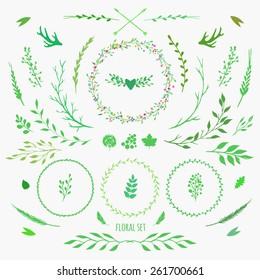 set of floral elements for spring design