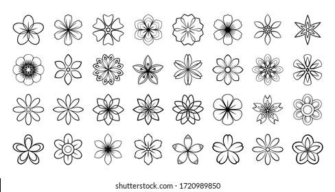 Set of floral elements. Vector flowers black outline collection, line art flowers for your design, isolated on white background, monochrome.Abstract Flower.Simple plant contour  thin line icons set.