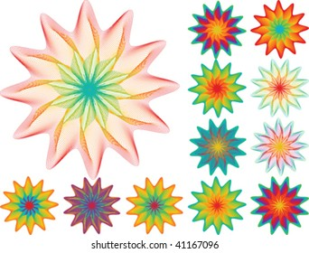 set of floral elements for your design on white background, raster variant is also available