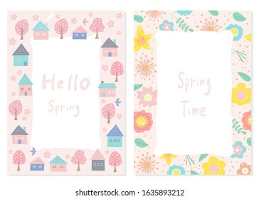 Set of floral frame . Cherry blossom trees, houses and flowers.