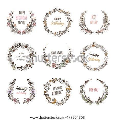Set Floral Frames Birthday Card Vector Stock Vector Royalty Free