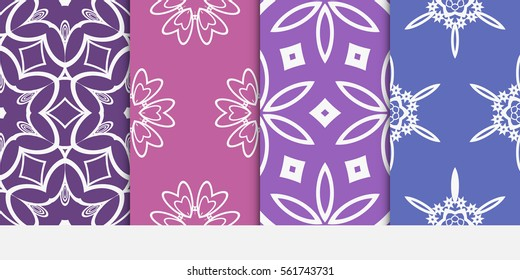 set of floral geometric lace ornament. Vector seamless pattern. Modern stylish design. Contemporary graphic. for design, wallpaper, invitation, fabric, textile, decor.