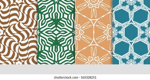 set of floral geometric lace ornament. Seamless vector illustration. Stylish graphic design. for design, wallpaper, invitation.