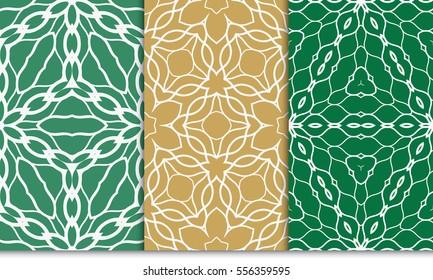 set of floral geometric ornament on color background. Seamless vector illustration. For interior design, wallpaper