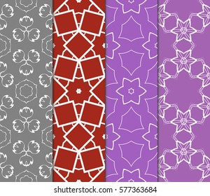 set of floral, geometric seamless pattern. line art. vector. for design, wallpaper, textile, fabric, invitation