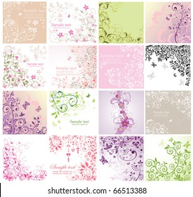 Set of floral greeting cards