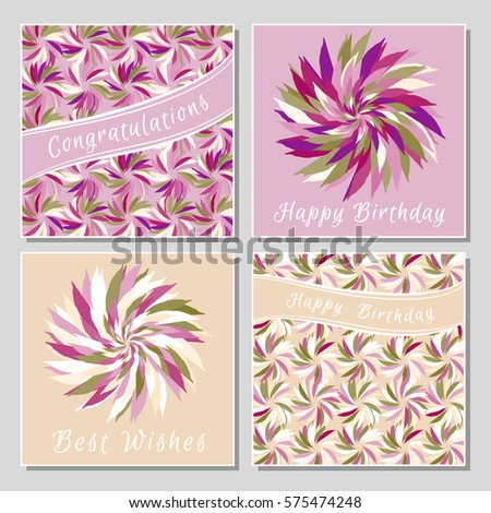 Set Floral Greeting Cards Exotic Colorful Stock Vector Royalty Free
