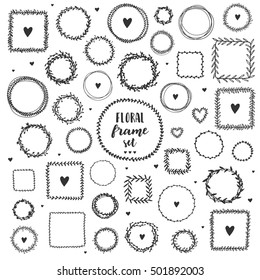 Set of floral hand drawn round and square frames. Ink vector illustration. Herbal frames-wreaths. Hand drawn wreath. Hand drawn vintage frames.