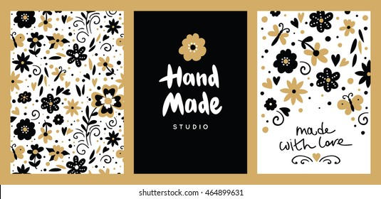 "Set of floral hand made card, logotypes and labels. Beautiful hand drawing text and card ""Handmade"". Crafts workshop, made with love. Floral seamless pattern"