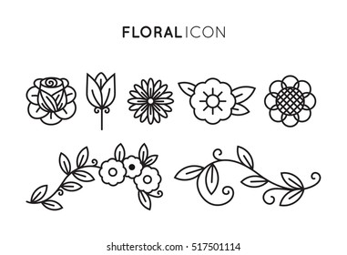 Set of floral icon in flat design. Thin line style