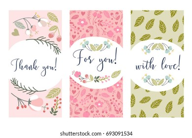 Set of floral labels.