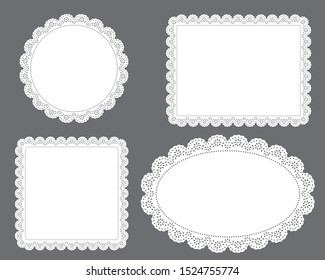 set of floral lace doily