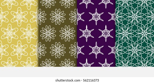 set of Floral lace ornament. seamless patterns. vector illustration. template texture for design, wallpaper, invitation. color