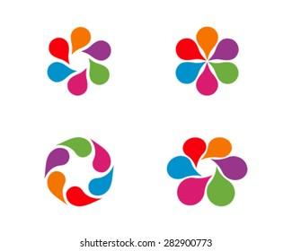 Set of floral logos, favicon