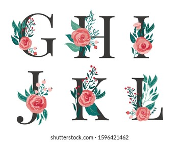 Set of floral monogram letters G, H, I, J, K, L with red vector roses flowers and berries for cards, wedding stationery, invitations and banners decoration