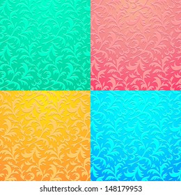 Set of floral neon seamless patterns. Vector illustration EPS 10.