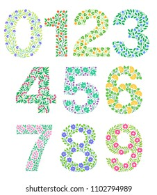 Set of floral numbers. Colorful clear modern illustration. Vector isolated illustration on white background. Illustration for t-shirts, posters, card and other uses.