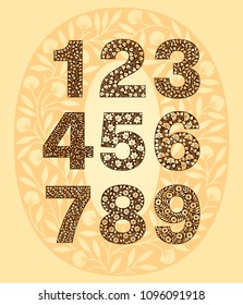 Set of floral numbers. Retro, vintage, gothic style. Vector isolated illustration on light background. Illustration for t-shirts, posters, card and other uses.