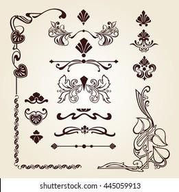 Set of floral ornament, set of corner floral ornament, floral elements, Art Nouveau floral elements