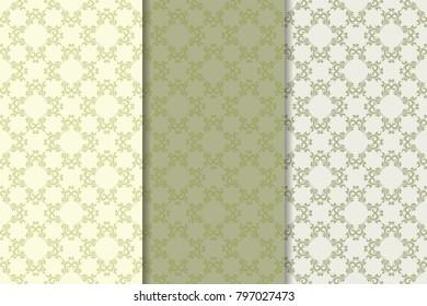 Set of floral ornaments. Set of olive green vertical seamless patterns. Wallpaper backgrounds