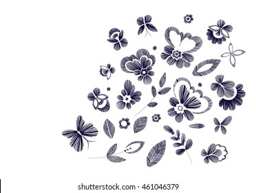 Set of floral  pattern with fantasy flowers isolated. Line art. Black and white vector  illustration hand drawn. Embroidery design elements - flowers, leaves, butterflies .