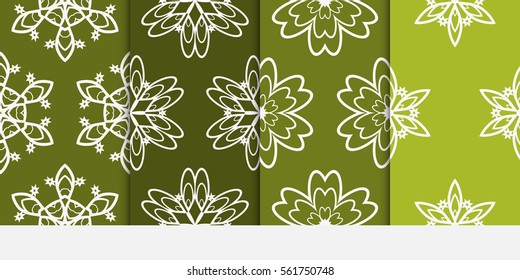 set of floral pattern of geometric elements. seamless pattern. green color. vector illustration. design for printing, presentation, textile industry.