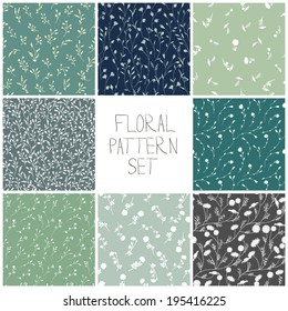 Set of floral patterns. Vector backgrounds with flowers.