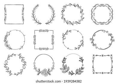 Set of floral, plant elements: leaf, branch, vine, flower. Set of floral hand-drawn frames, icons in doodle style on white background. Christmas frame, winter design. Vector illustration, EPS 10.