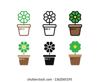 Set floral plants and blooming cactus in pots isolated with line, flat and glyph icon styles on white background. vector illustration