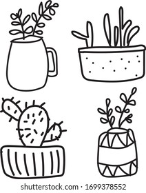 Set floral plants and blooming cactus in pots isolated on white background circuit vector illustration.