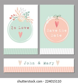 Set of floral romantic wedding, baby shower or birthday cards, vector illustration background