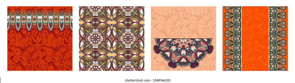 set of floral round pattern in indian kalamkari oriental ethnic style for your greeting card or invitation, template frame design for card, vintage lace doily, vector illustration