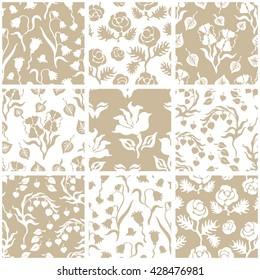 Set of floral seamless patterns with peonies, bells and pansies. English, French, Scandinavian motifs. Retro textile collection. Golden.