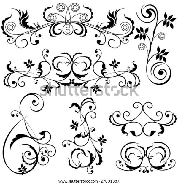 Set of floral and swirl design elements. Vector.