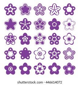 Set of floral symbols for design. Five petals. Vector illustration.
