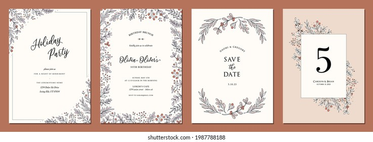 Set of floral universal artistic templates. Good for wedding, birthday, bridal and baby shower, corporate Holiday cards and invitations.