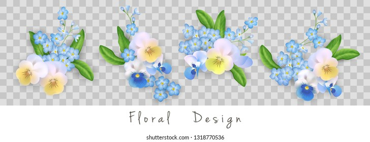 Set of floral vector bouquets. Design of different pansy flowers isolated on transparent background