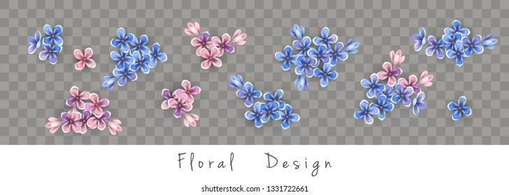 Set of floral vector bouquets. Design of different small flowers isolated on transparent background