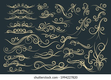 Set of floral vintage decorative ornament borders and page dividers. Vector line vintage scroll items for ornate design.