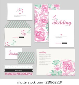 Set of floral vintage wedding cards invitations vector