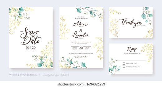 Set of floral wedding Invitation card, save the date, thank you, rsvp template. Vector. Water color and golden silver dollar leaves.