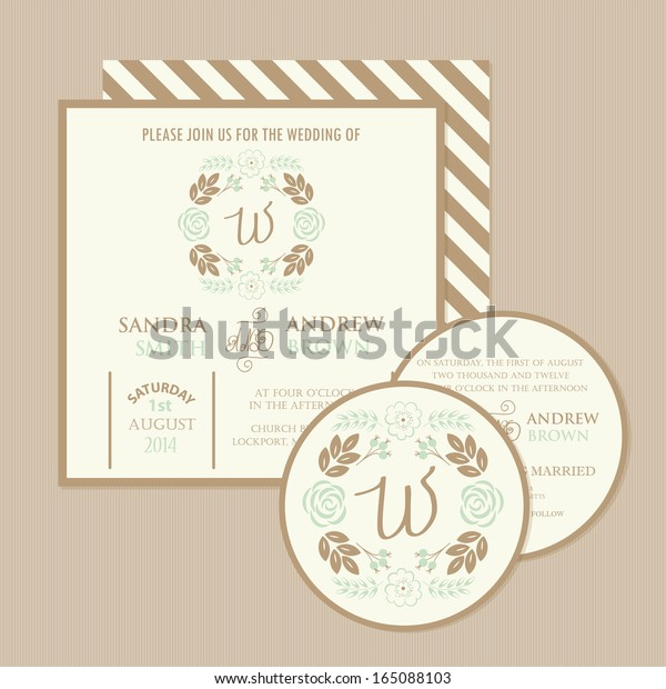 Set Floral Wedding Invitation Cards Vector Stock Vector (Royalty ...