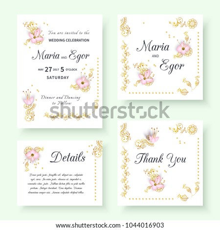 Set of floral wedding invitation with paper 3d flowers and luxurious gold mehendi pattern.Vector