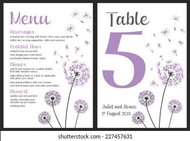 Set of floral wedding invitation template, purple dandelion flower, menu and table number card